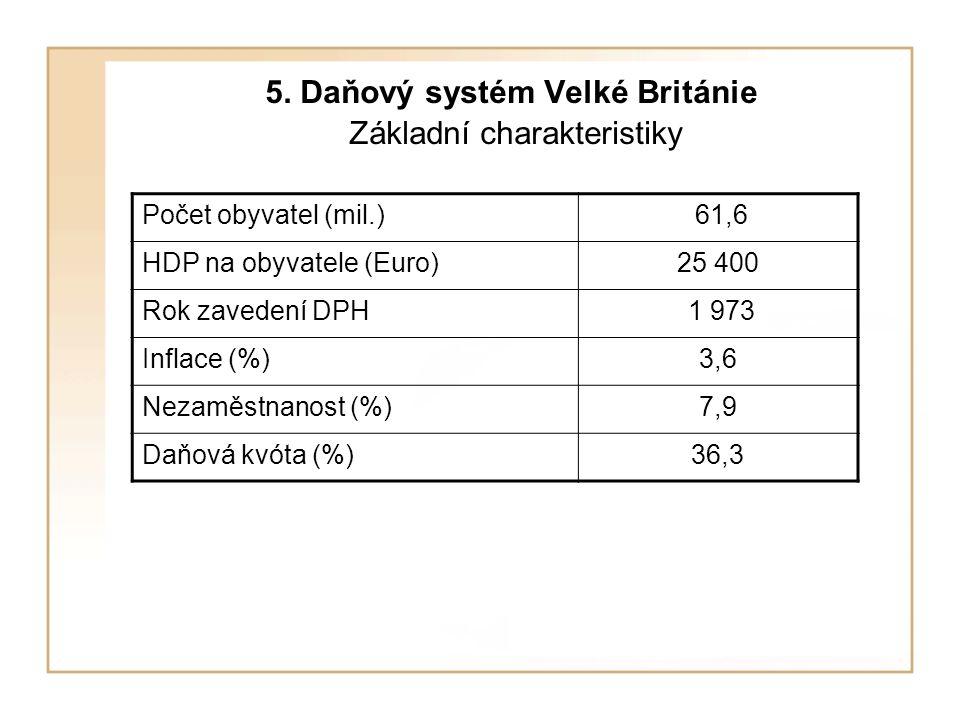 5. Daňový systém Velké Británie Základní charakteristiky