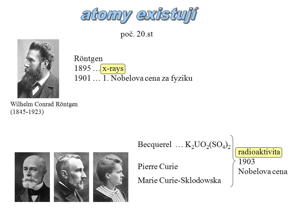 atomy existují poč. 20.st Röntgen 1895 … x-rays