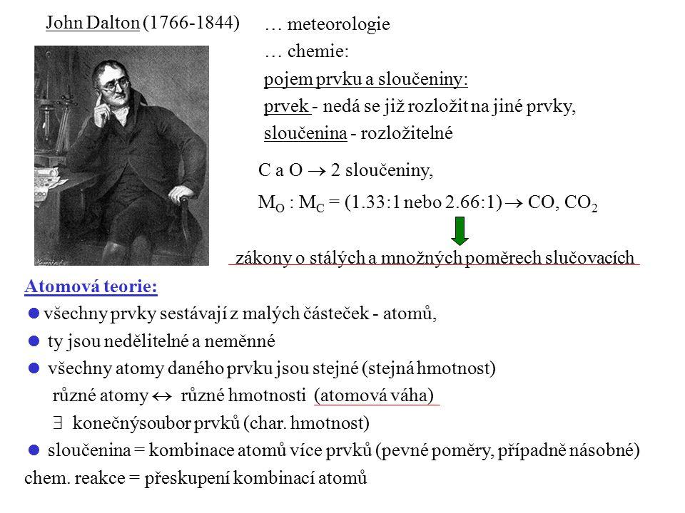 John Dalton (1766-1844) … meteorologie. … chemie: pojem prvku a sloučeniny: prvek - nedá se již rozložit na jiné prvky,