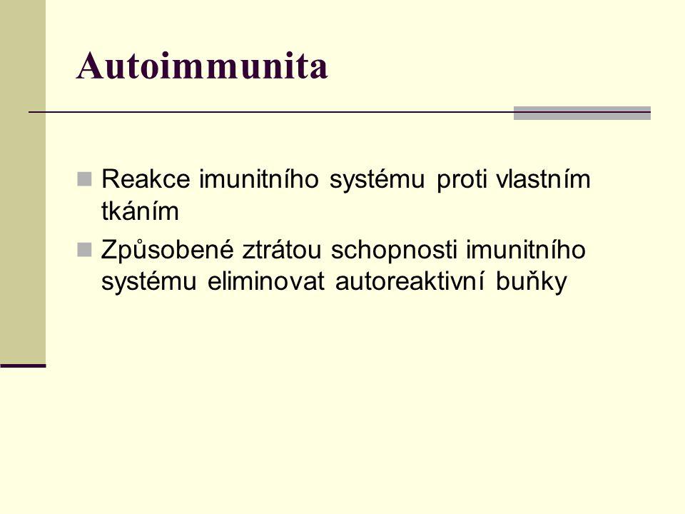 Autoimmunita Reakce imunitního systému proti vlastním tkáním