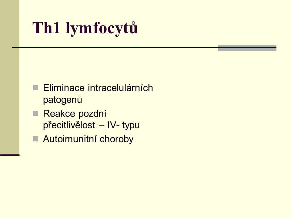 Th1 lymfocytů Eliminace intracelulárních patogenů