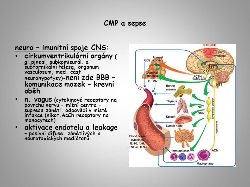 CMP a sepse neuro – imunitní spoje CNS: