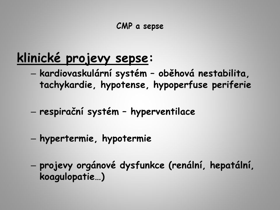 klinické projevy sepse: