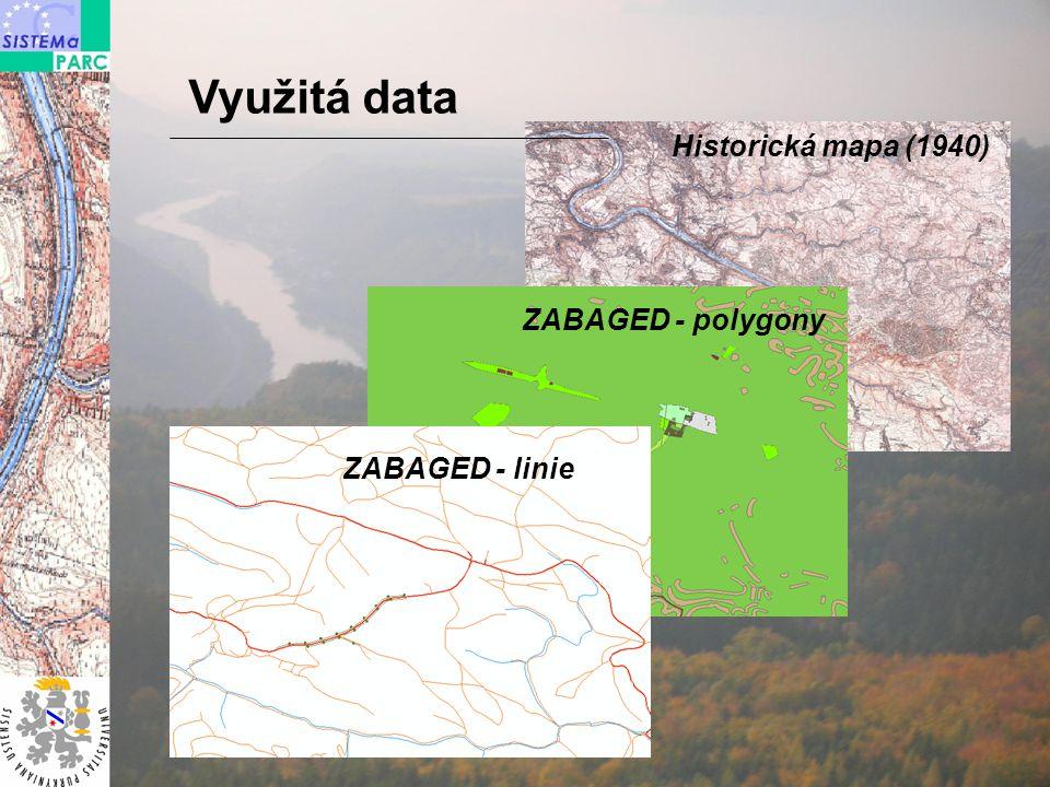 Využitá data Historická mapa (1940) ZABAGED - polygony ZABAGED - linie