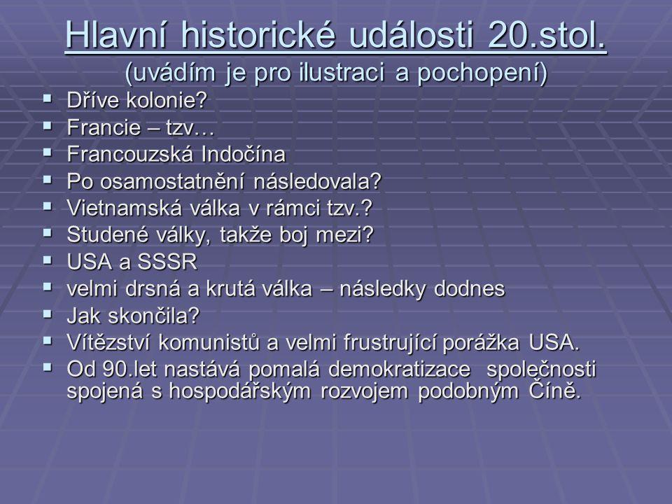 Hlavní historické události 20. stol