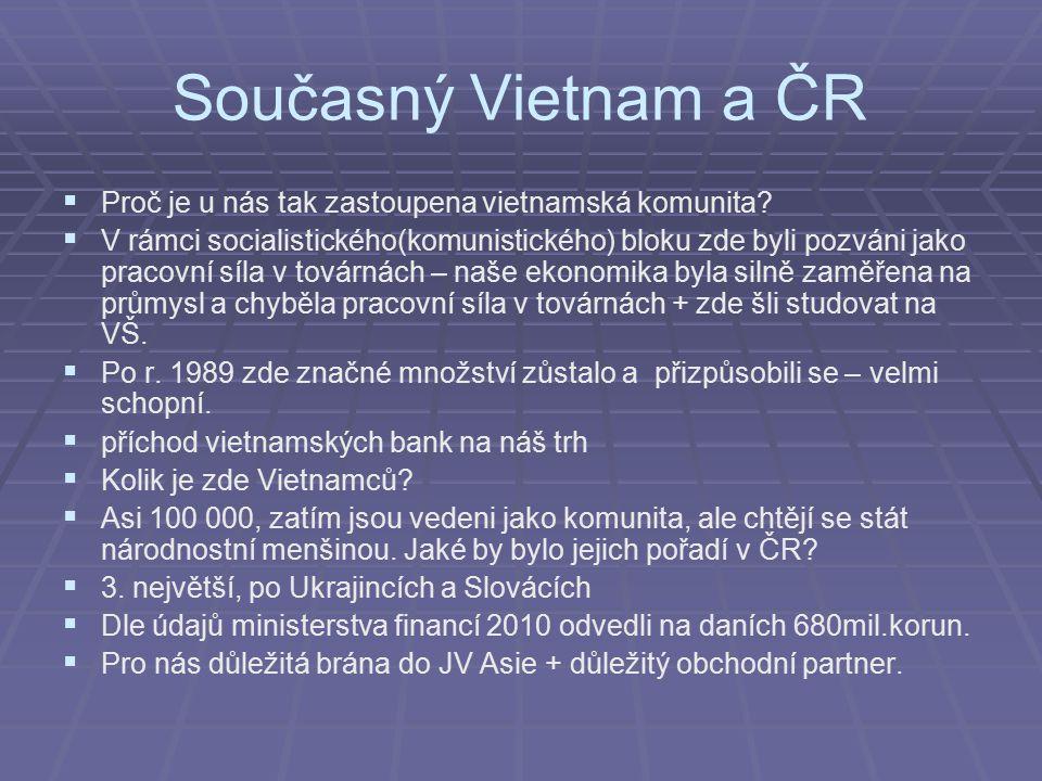 Současný Vietnam a ČR Proč je u nás tak zastoupena vietnamská komunita
