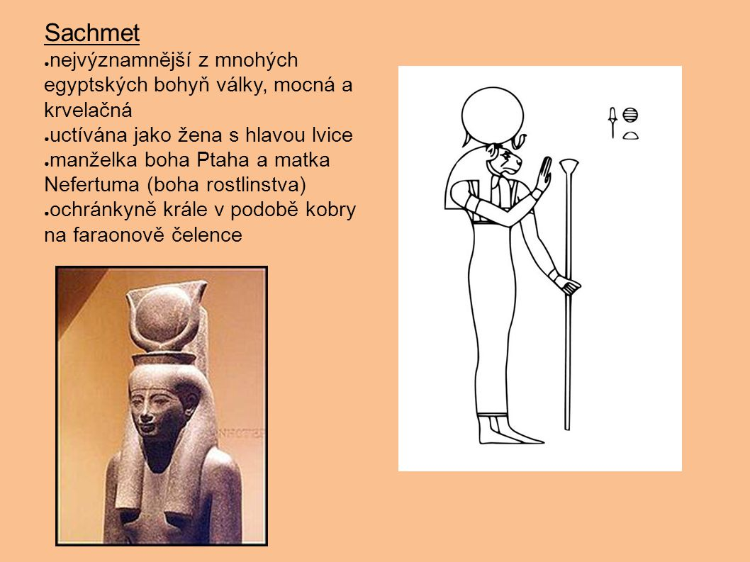 Sachmet nejvýznamnější z mnohých egyptských bohyň války, mocná a krvelačná. uctívána jako žena s hlavou lvice.