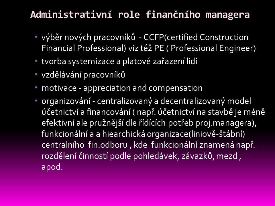 Administrativní role finančního managera