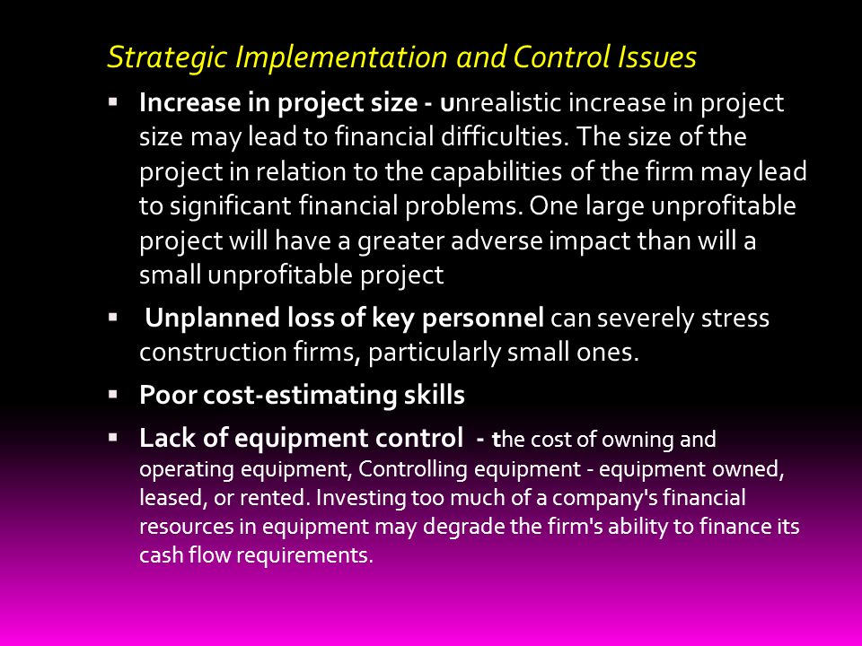 Strategic Implementation and Control Issues