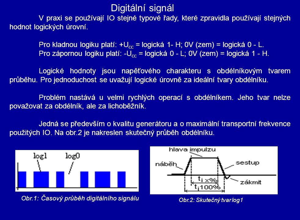 Digitální signál V praxi se používají IO stejné typové řady, které zpravidla používají stejných hodnot logických úrovní.
