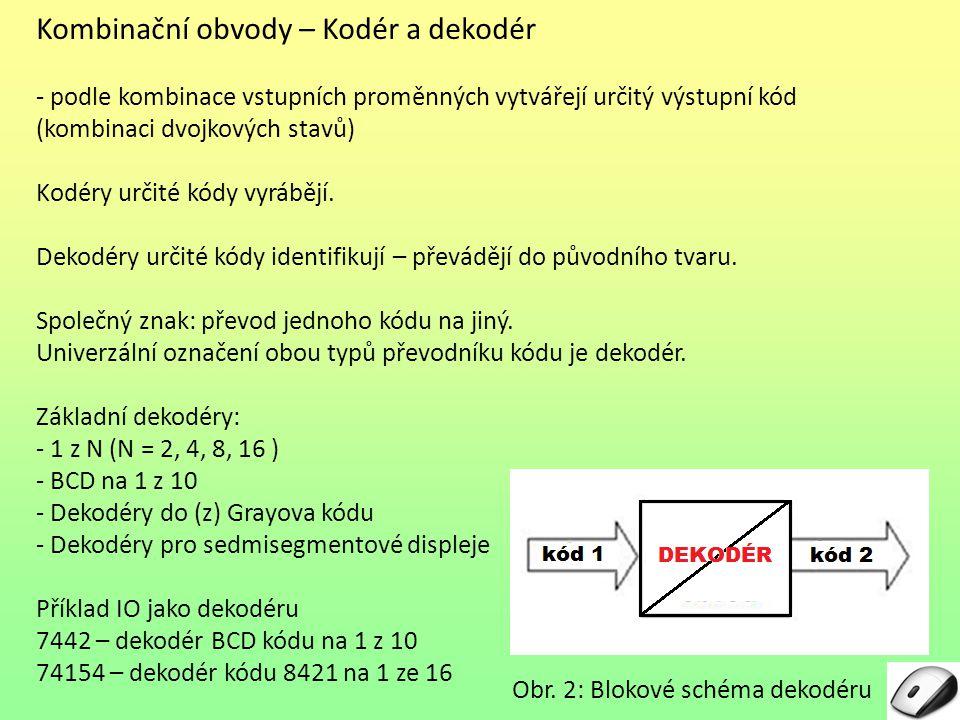 Kombinační obvody – Kodér a dekodér