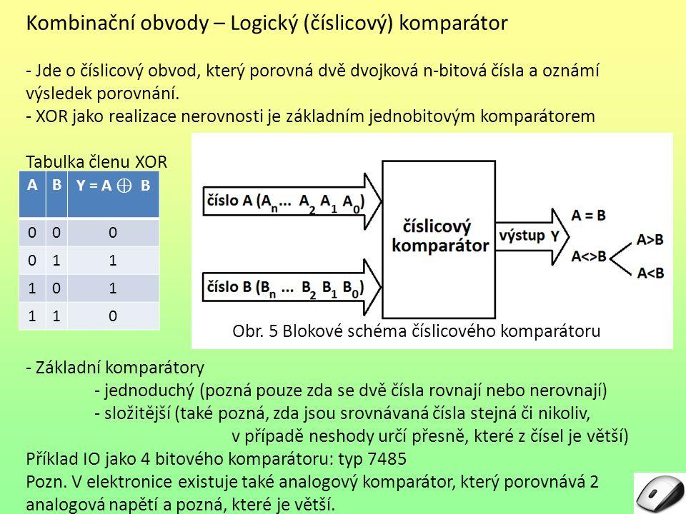 Kombinační obvody – Logický (číslicový) komparátor
