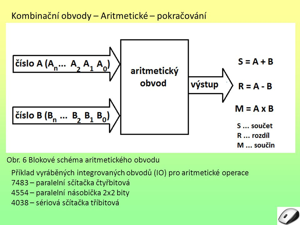 Kombinační obvody – Aritmetické – pokračování