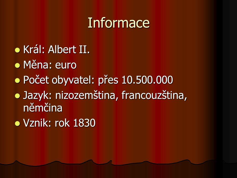 Informace Král: Albert II. Měna: euro Počet obyvatel: přes 10.500.000