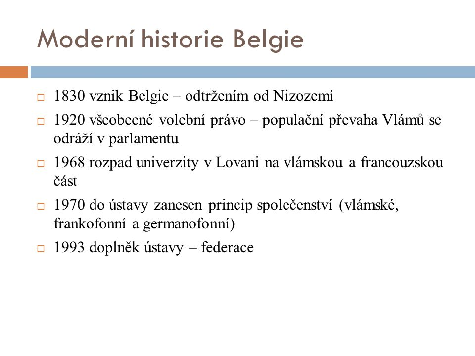 Moderní historie Belgie