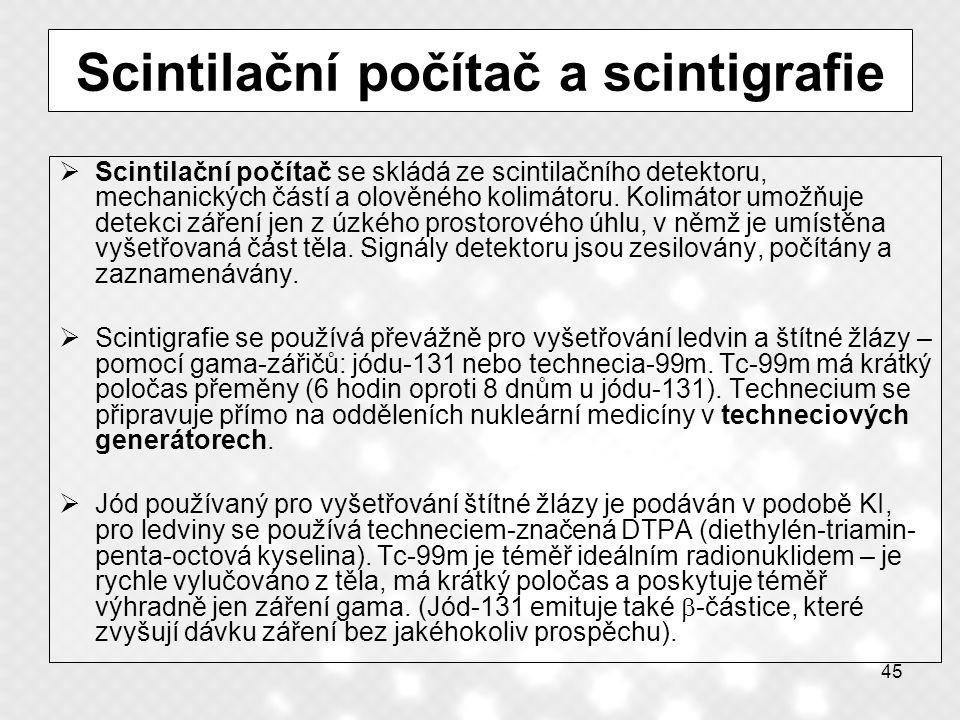 Scintilační počítač a scintigrafie