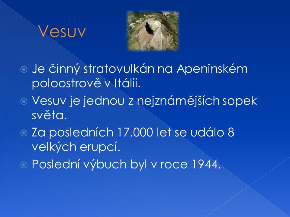 Vesuv Je činný stratovulkán na Apeninském poloostrově v Itálii.