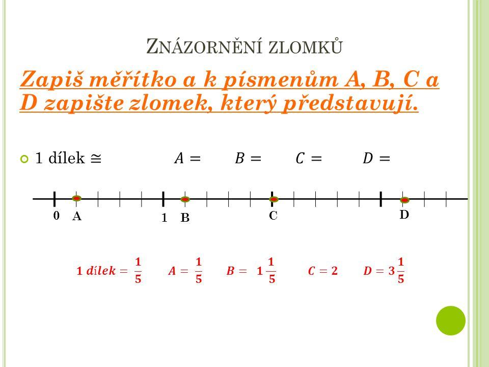 Znázornění zlomků Zapiš měřítko a k písmenům A, B, C a D zapište zlomek, který představují.