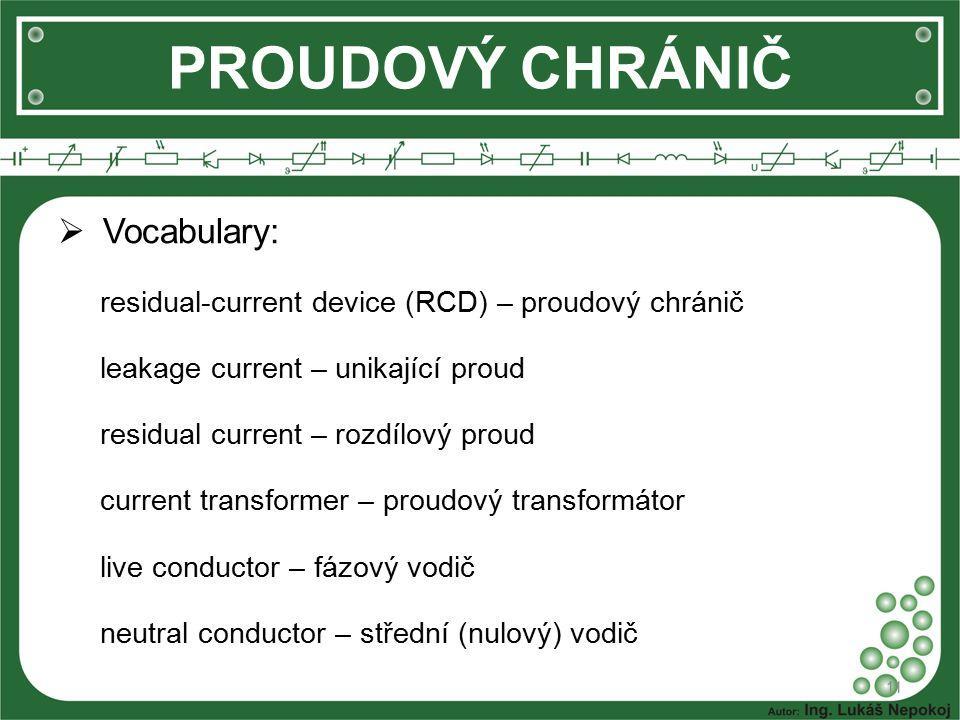 PROUDOVÝ CHRÁNIČ Vocabulary: