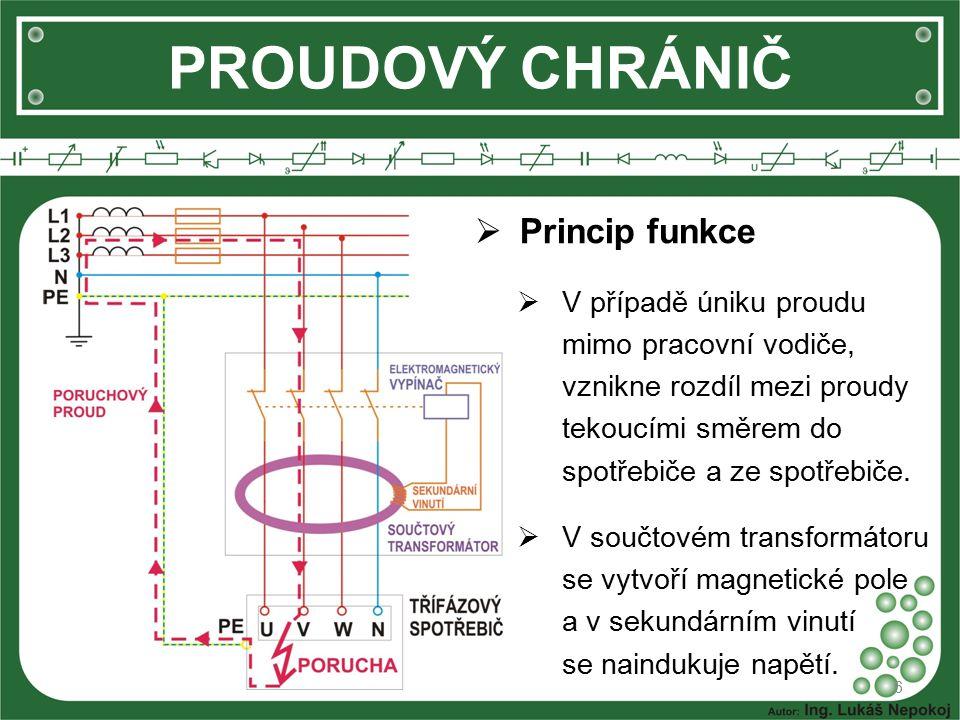 PROUDOVÝ CHRÁNIČ Princip funkce