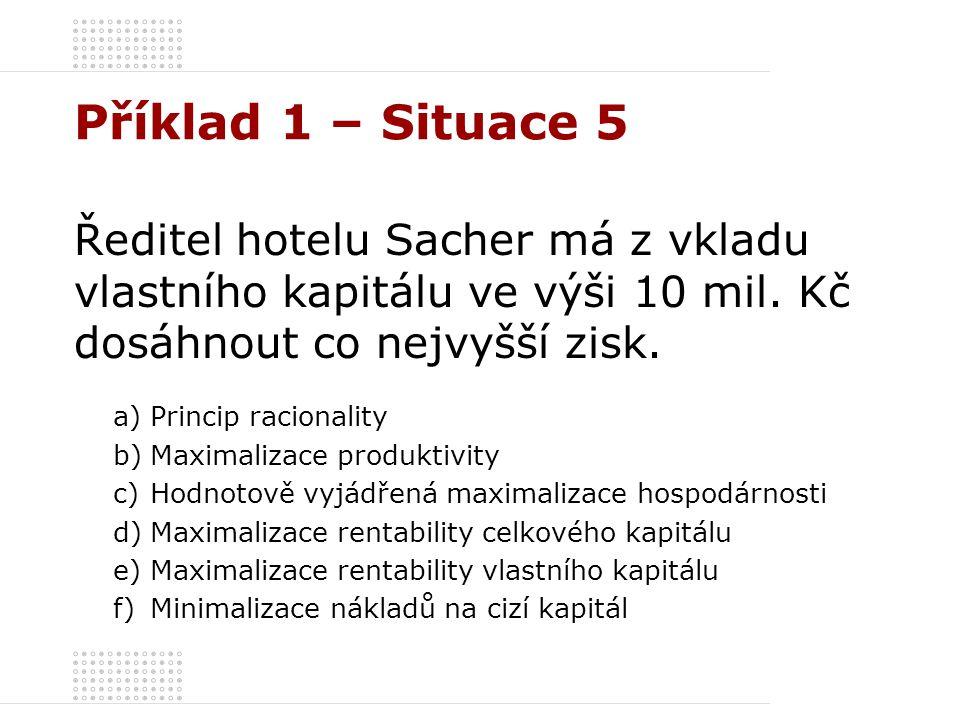 Příklad 1 – Situace 5 Ředitel hotelu Sacher má z vkladu vlastního kapitálu ve výši 10 mil. Kč dosáhnout co nejvyšší zisk.