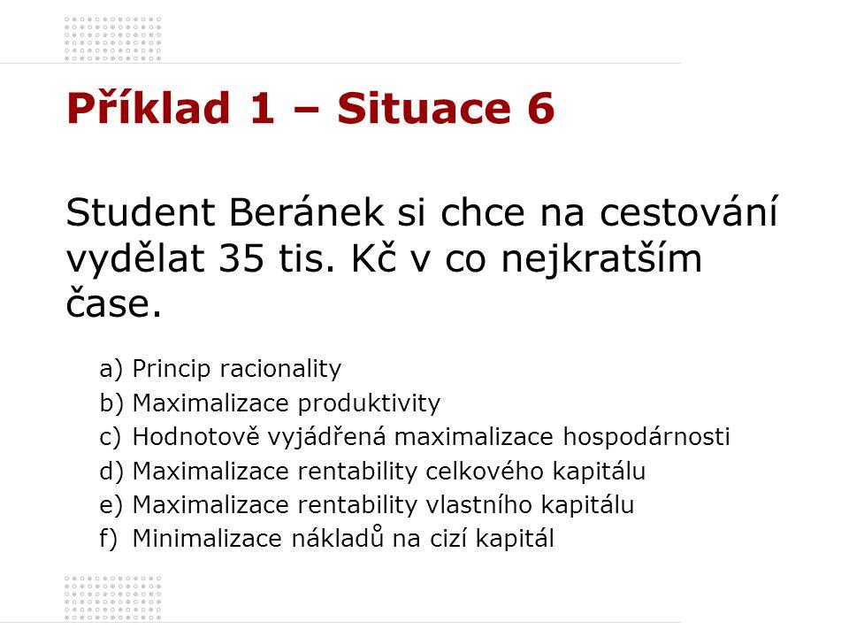 Příklad 1 – Situace 6 Student Beránek si chce na cestování vydělat 35 tis. Kč v co nejkratším čase.