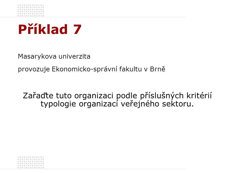 Příklad 7 Masarykova univerzita. provozuje Ekonomicko-správní fakultu v Brně.