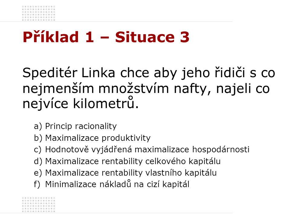 Příklad 1 – Situace 3 Speditér Linka chce aby jeho řidiči s co nejmenším množstvím nafty, najeli co nejvíce kilometrů.