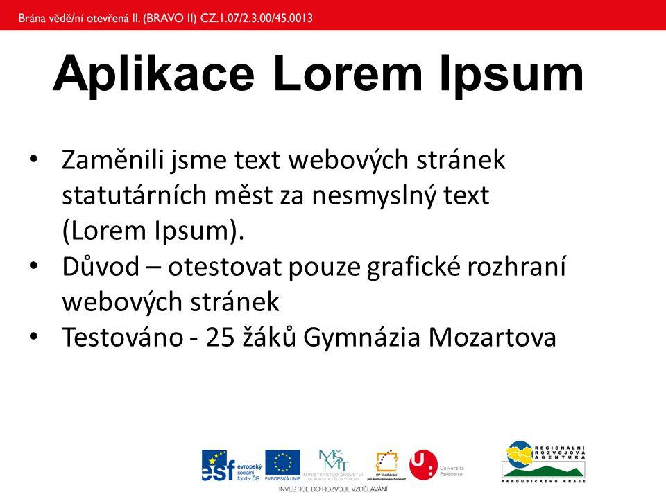 Aplikace Lorem Ipsum Zaměnili jsme text webových stránek statutárních měst za nesmyslný text (Lorem Ipsum).