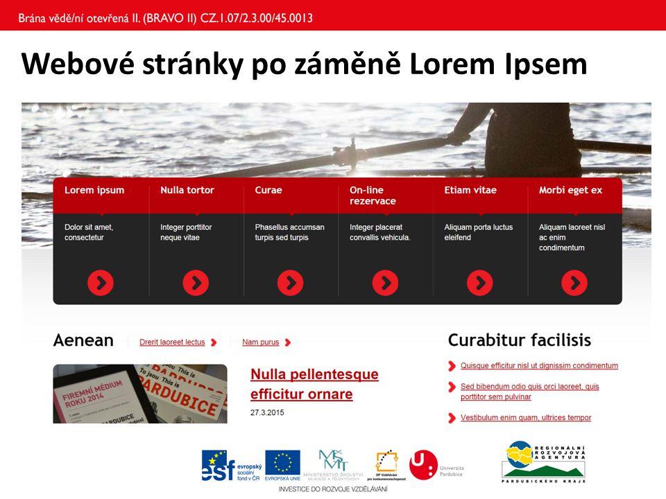 Webové stránky po záměně Lorem Ipsem