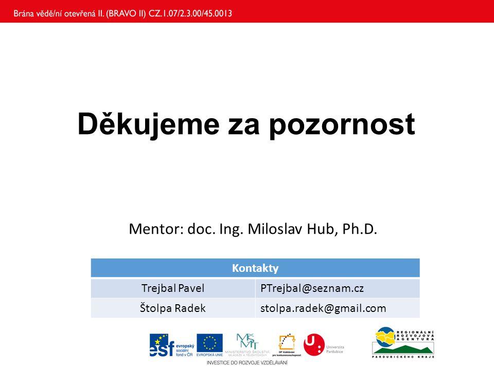Děkujeme za pozornost Mentor: doc. Ing. Miloslav Hub, Ph.D. Kontakty