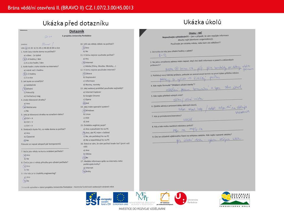 Ukázka před dotazníku Ukázka úkolů