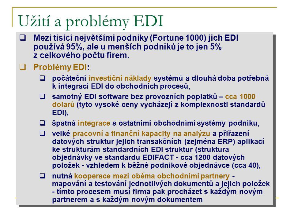 Užití a problémy EDI Mezi tisíci největšími podniky (Fortune 1000) jich EDI používá 95%, ale u menších podniků je to jen 5% z celkového počtu firem.