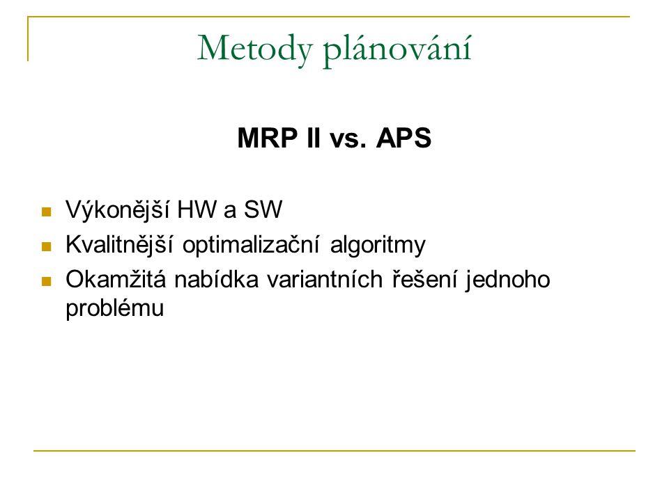 Metody plánování MRP II vs. APS Výkonější HW a SW