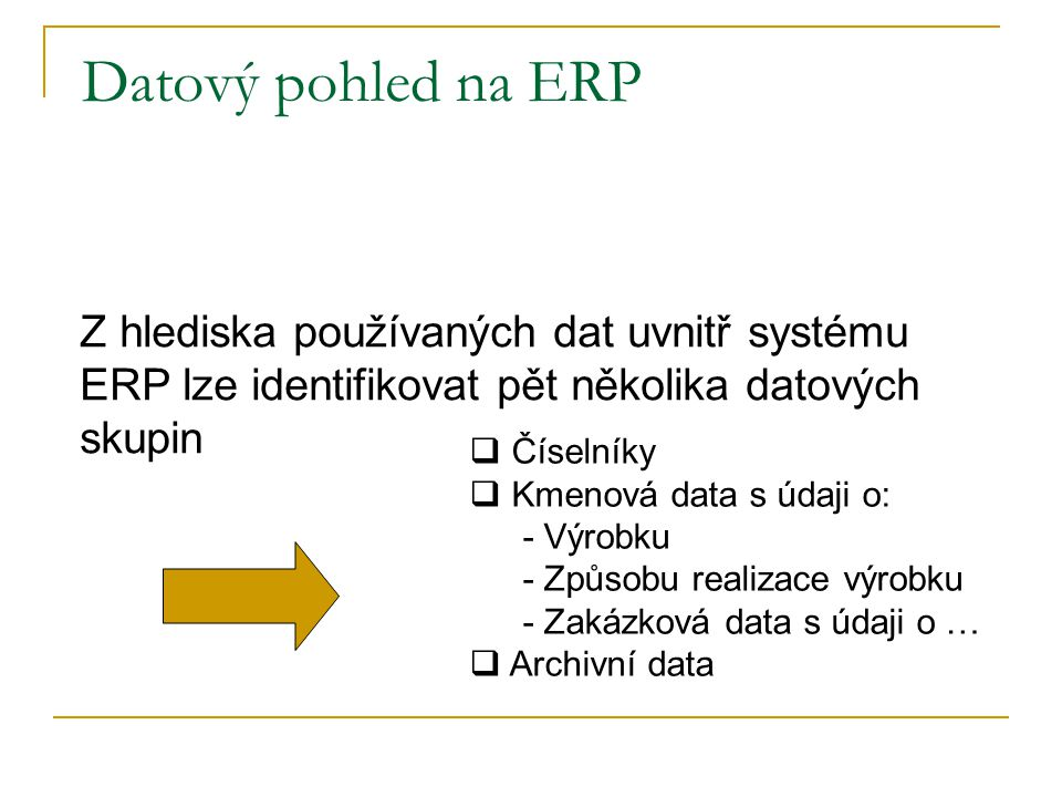 Datový pohled na ERP Z hlediska používaných dat uvnitř systému ERP lze identifikovat pět několika datových skupin.