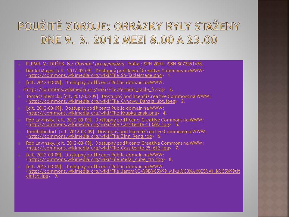 Použité zdroje: Obrázky byly staženy dne 9. 3. 2012 mezi 8.00 a 23.00