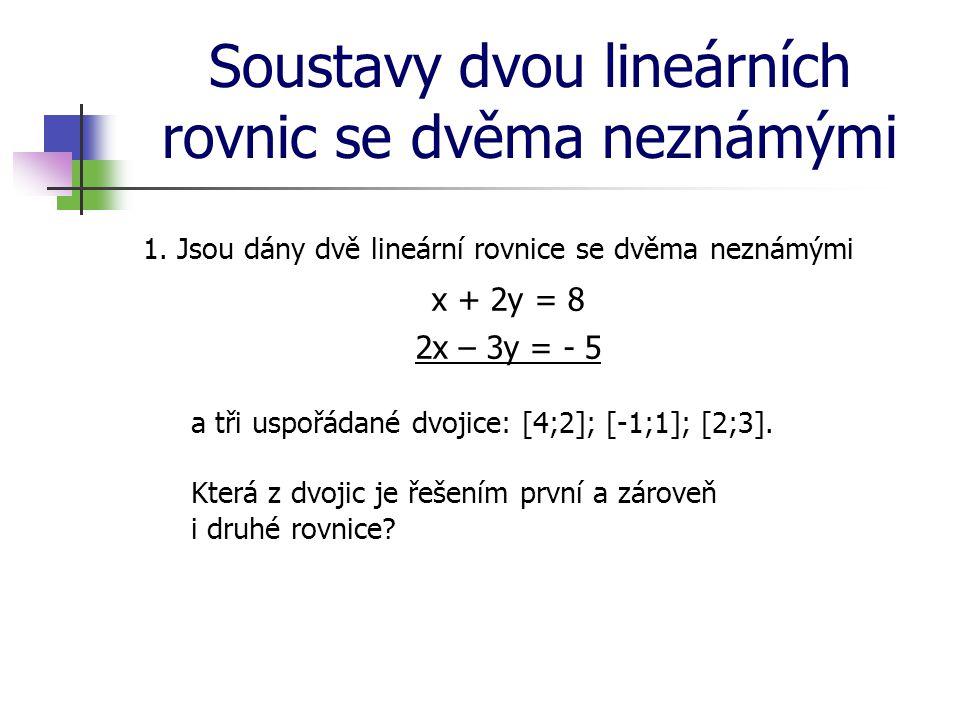 Soustavy dvou lineárních rovnic se dvěma neznámými