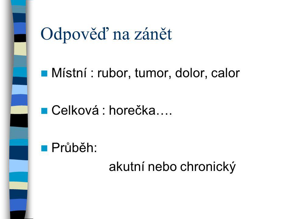 Odpověď na zánět Místní : rubor, tumor, dolor, calor