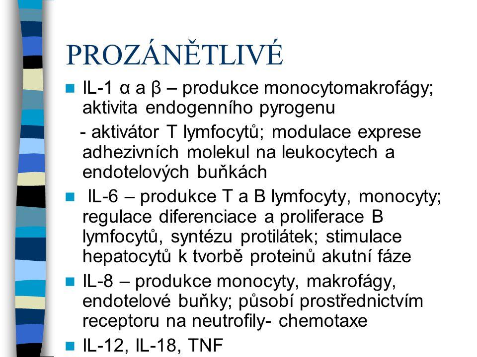 PROZÁNĚTLIVÉ IL-1 α a β – produkce monocytomakrofágy; aktivita endogenního pyrogenu.