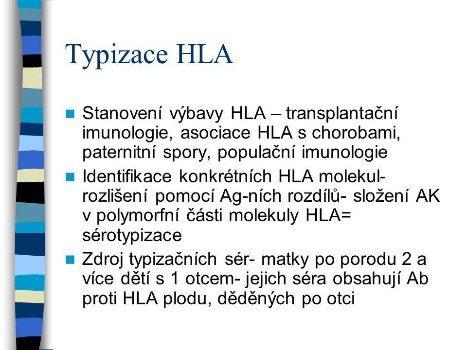 Typizace HLA Stanovení výbavy HLA – transplantační imunologie, asociace HLA s chorobami, paternitní spory, populační imunologie.