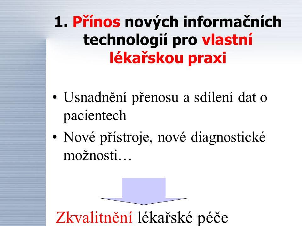 1. Přínos nových informačních technologií pro vlastní lékařskou praxi