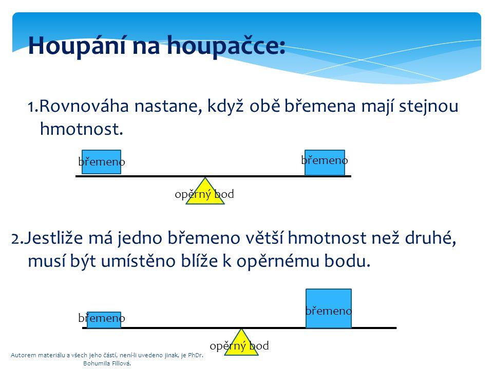 Houpání na houpačce: 1.Rovnováha nastane, když obě břemena mají stejnou. hmotnost. břemeno. břemeno.