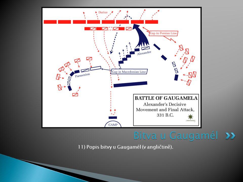 11) Popis bitvy u Gaugamél (v angličtině).
