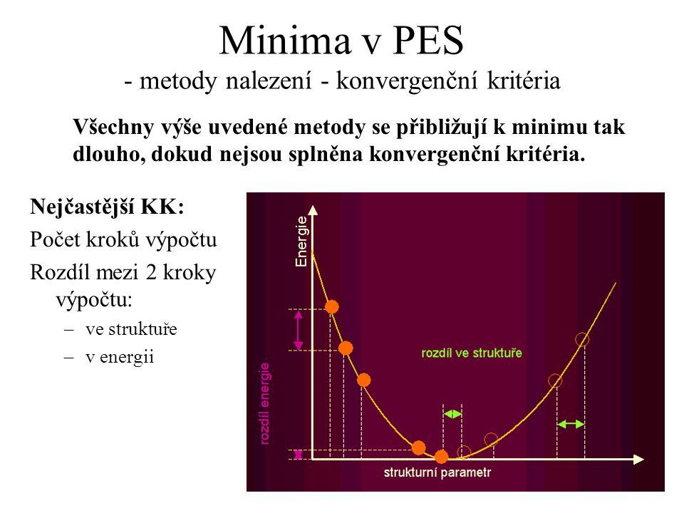 Minima v PES - metody nalezení - konvergenční kritéria