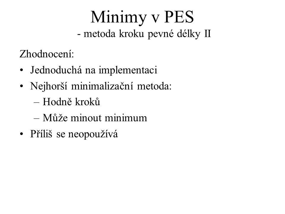 Minimy v PES - metoda kroku pevné délky II