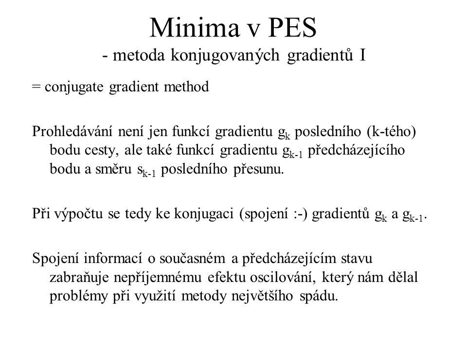Minima v PES - metoda konjugovaných gradientů I