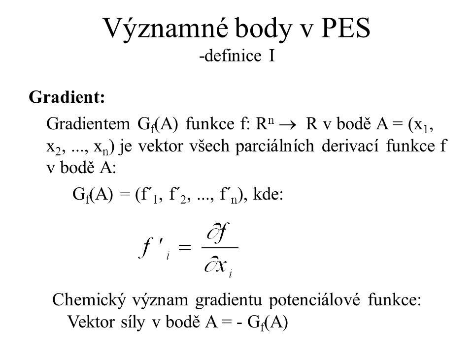 Významné body v PES -definice I