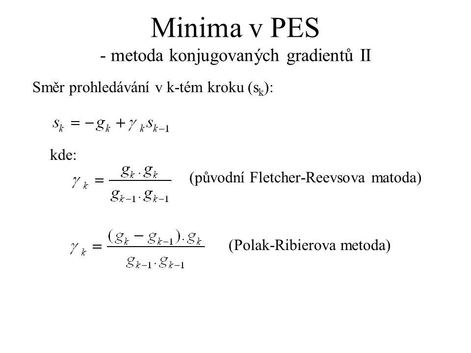Minima v PES - metoda konjugovaných gradientů II