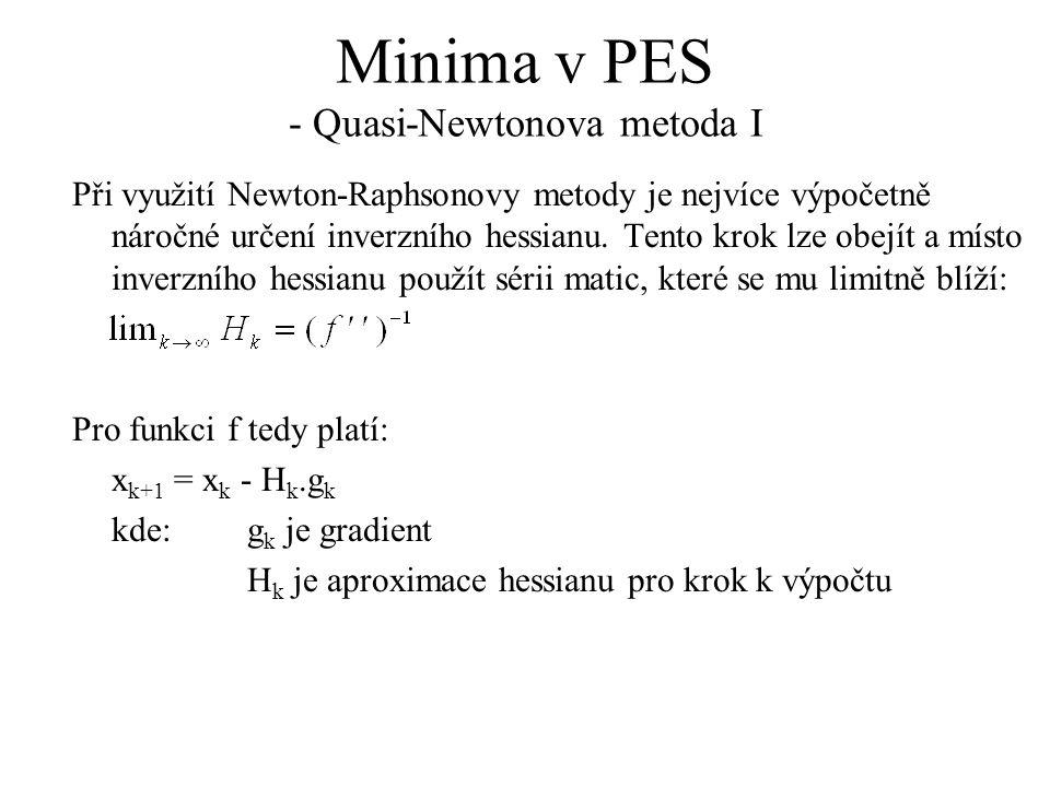 Minima v PES - Quasi-Newtonova metoda I