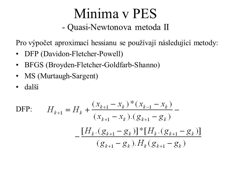 Minima v PES - Quasi-Newtonova metoda II